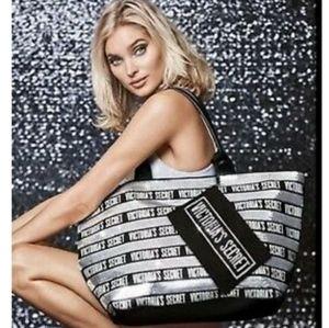 Victoria's Secret Sequined Silver & Black Tote Bag